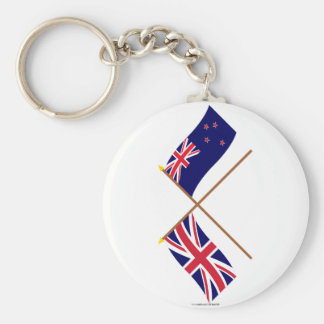 UK and New Zealand Crossed Flags Key Ring