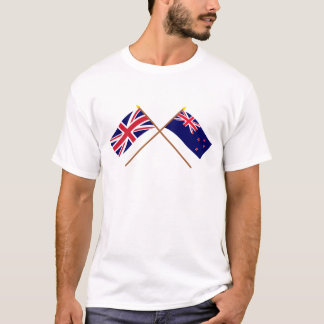UK and New Zealand Crossed Flags T-Shirt