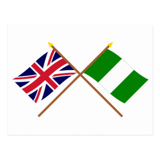UK and Nigeria Crossed Flags Postcard