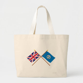 UK and Northern Marianas Crossed Flags Canvas Bags