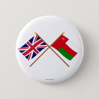 UK and Oman Crossed Flags 6 Cm Round Badge