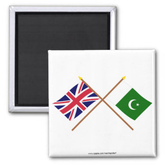 UK and Pakistan Crossed Flags Magnet