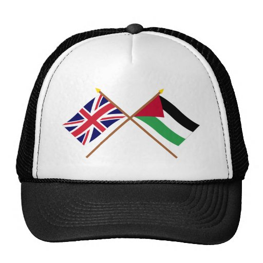 UK and Palestinian Movement Crossed Flags Hats