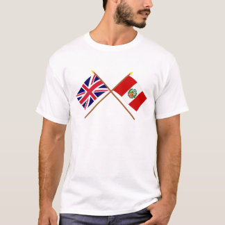 UK and Peru Crossed Flags T-Shirt