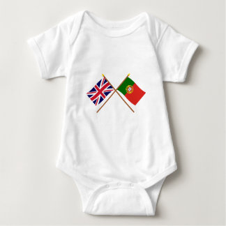 UK and Portugal Crossed Flags Baby Bodysuit