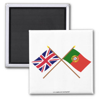 UK and Portugal Crossed Flags Magnet