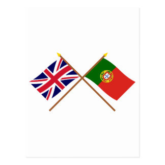 UK and Portugal Crossed Flags Postcard