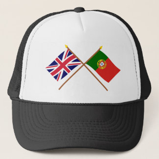UK and Portugal Crossed Flags Trucker Hat