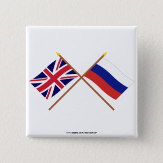 UK and Russia Crossed Flags 15 Cm Square Badge