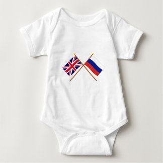 UK and Russia Crossed Flags Baby Bodysuit