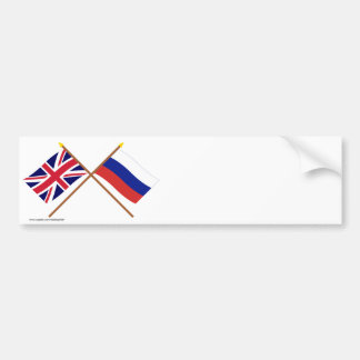 UK and Russia Crossed Flags Bumper Sticker