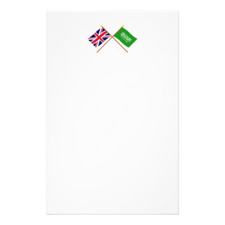 UK and Saudi Arabia Crossed Flags Personalised Stationery