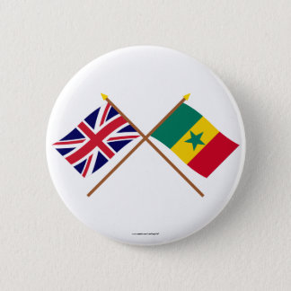UK and Senegal Crossed Flags 6 Cm Round Badge