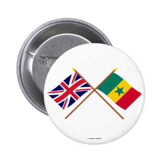 UK and Senegal Crossed Flags 6 Cm Round Badge