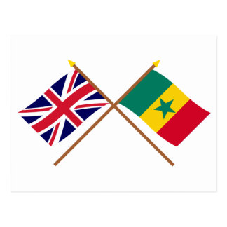 UK and Senegal Crossed Flags Postcard