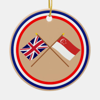 UK and Singapore Crossed Flags Christmas Ornament