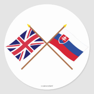 UK and Slovakia Crossed Flags Round Sticker