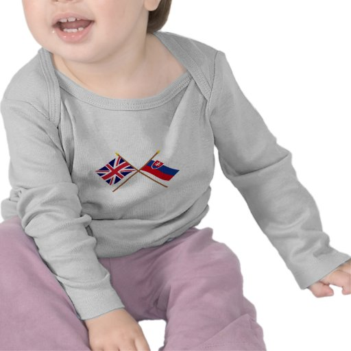 UK and Slovakia Crossed Flags T-shirts