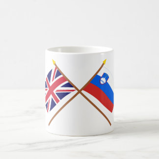 UK and Slovenia Crossed Flags Basic White Mug