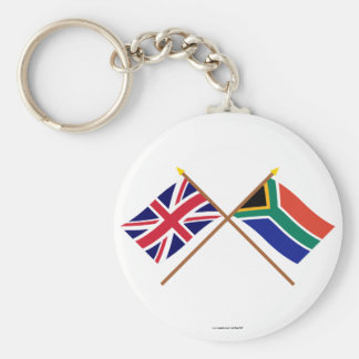 UK and South Africa Crossed Flags Basic Round Button Key Ring