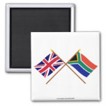 UK and South Africa Crossed Flags Square Magnet