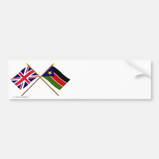 UK and Southern Sudan Crossed Flags Bumper Sticker