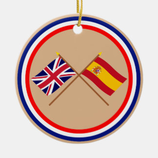 UK and Spain Crossed Flags Christmas Ornament