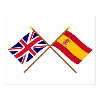UK and Spain Crossed Flags Postcard
