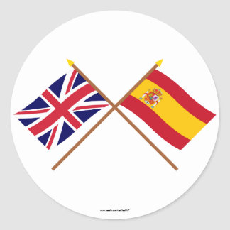 UK and Spain Crossed Flags Round Sticker