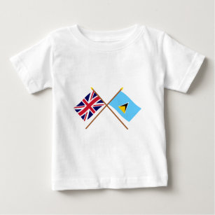 UK and St Lucia Crossed Flags Baby T-Shirt