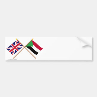 UK and Sudan Crossed Flags Bumper Stickers