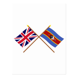 UK and Swaziland Crossed Flags Postcard
