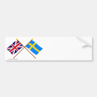 UK and Sweden Crossed Flags Bumper Sticker