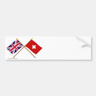 UK and Switzerland Crossed Flags Bumper Sticker
