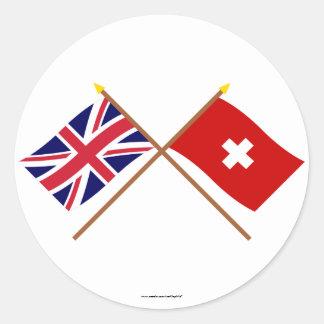 UK and Switzerland Crossed Flags Classic Round Sticker