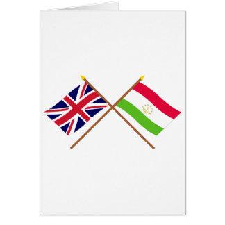 UK and Tajikistan Crossed Flags Card