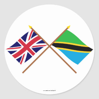 UK and Tanzania Crossed Flags Classic Round Sticker