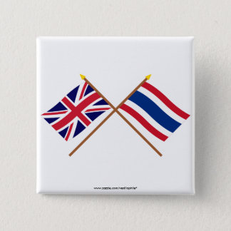 UK and Thailand Crossed Flags 15 Cm Square Badge