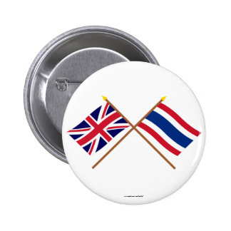 UK and Thailand Crossed Flags 6 Cm Round Badge