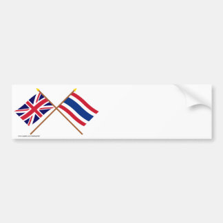 UK and Thailand Crossed Flags Bumper Sticker