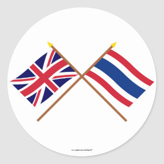 UK and Thailand Crossed Flags Classic Round Sticker