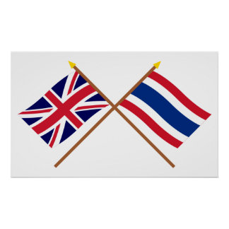 UK and Thailand Crossed Flags Poster