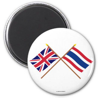 UK and Thailand Crossed Flags Refrigerator Magnets