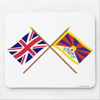 UK and Tibet Crossed Flags Mouse Pad