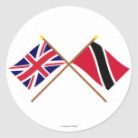 UK and Trinidad & Tobago Crossed Flags Round Sticker