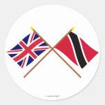 UK and Trinidad & Tobago Crossed Flags Round Sticker