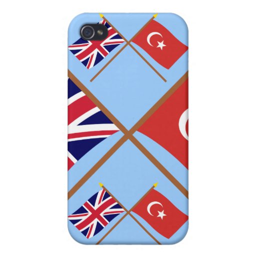 UK and Turkey Crossed Flags iPhone 4 Covers