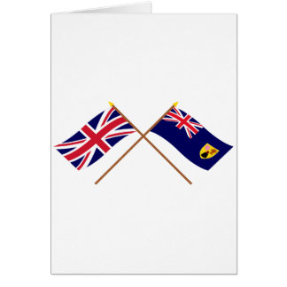 UK and Turks and Caicos Islands Crossed Flags Greeting Card