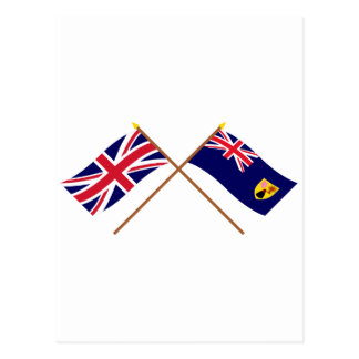 UK and Turks and Caicos Islands Crossed Flags Post Cards