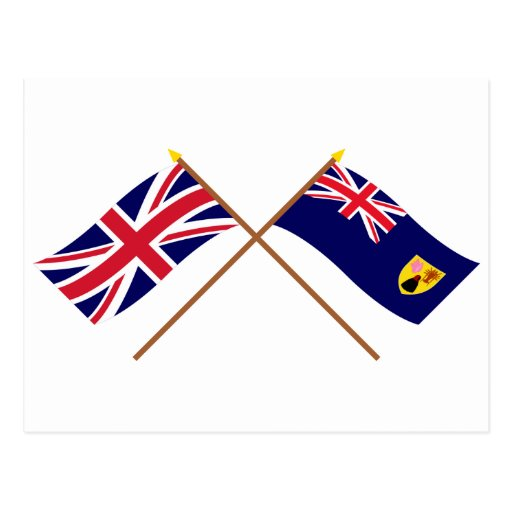 UK and Turks and Caicos Islands Crossed Flags Postcard